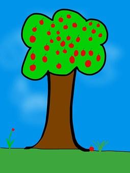 Free photo Apple Cartoon Children Picture Tablet Apple Tree.
