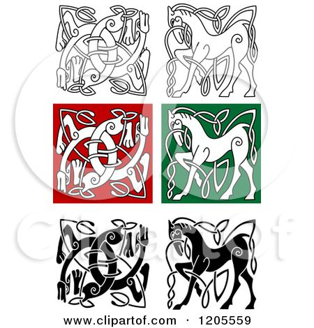 Clipart of Celtic Horse and Dog Knot Designs.