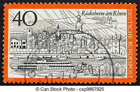 Stock Images of Postage stamp Germany 1973 Rudesheim am Rhein.