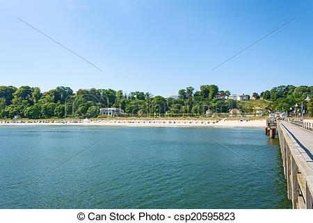 Stock Photo of Ghren Beach, Rugen, view from pier.