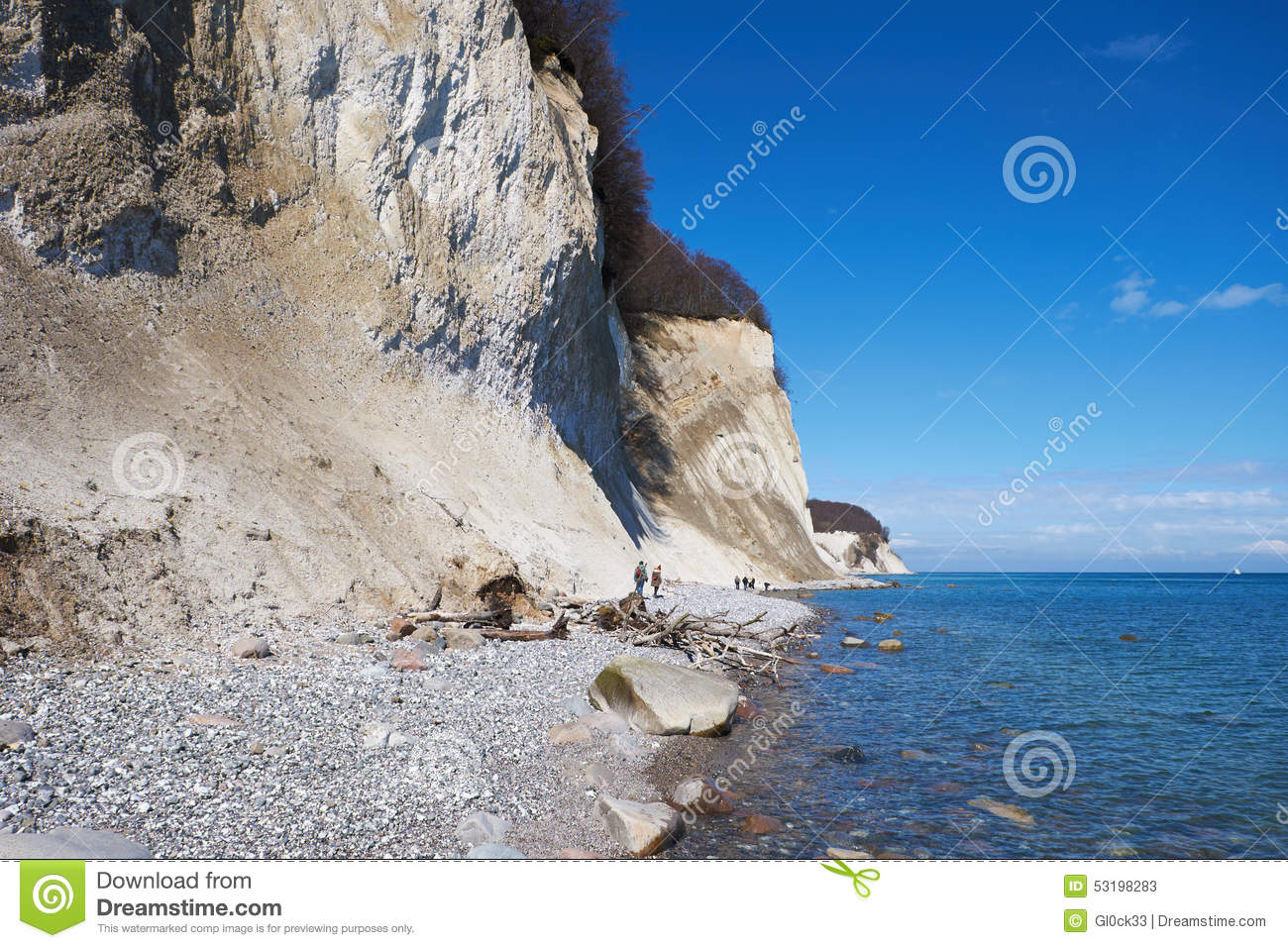 High Chalk Cliffs At The Coast Of Rugen Island. Germany Editorial.