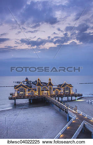 "Stock Image of ""Lighted pier Sellin, Rugen island, Mecklenburg."
