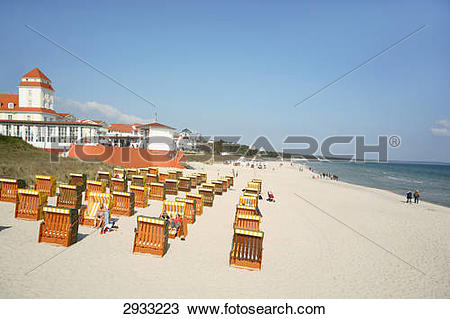 Stock Photo of Beach chairs at the beach of Binz, Rugen Island.