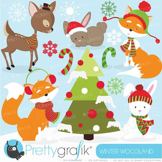 Winter woodland clipart commercial use, vector graphics, digital.
