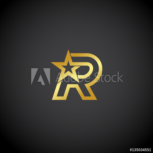 Letter R logo,Gold star sign Branding Identity Corporate.