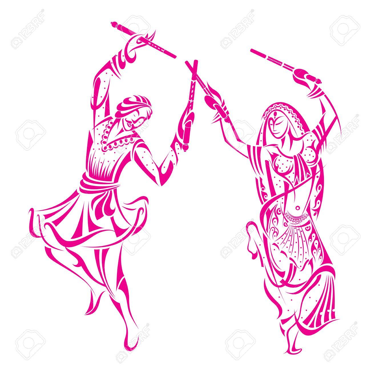 Man And Woman Dancing On Dandiya Night Royalty Free Cliparts.