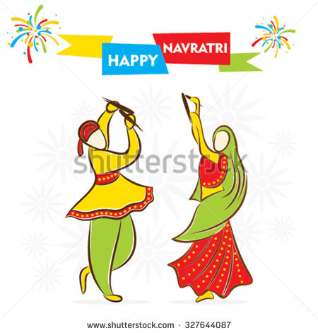 Celebrate Navratri Festival Dancing Garba Design Stock Vector.