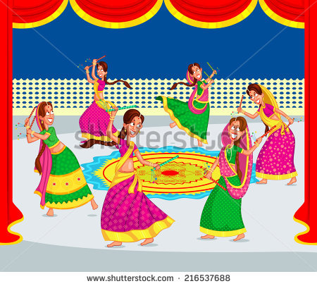 Couple Performing Dandiya Dancing Garba Vector Stock Vector.