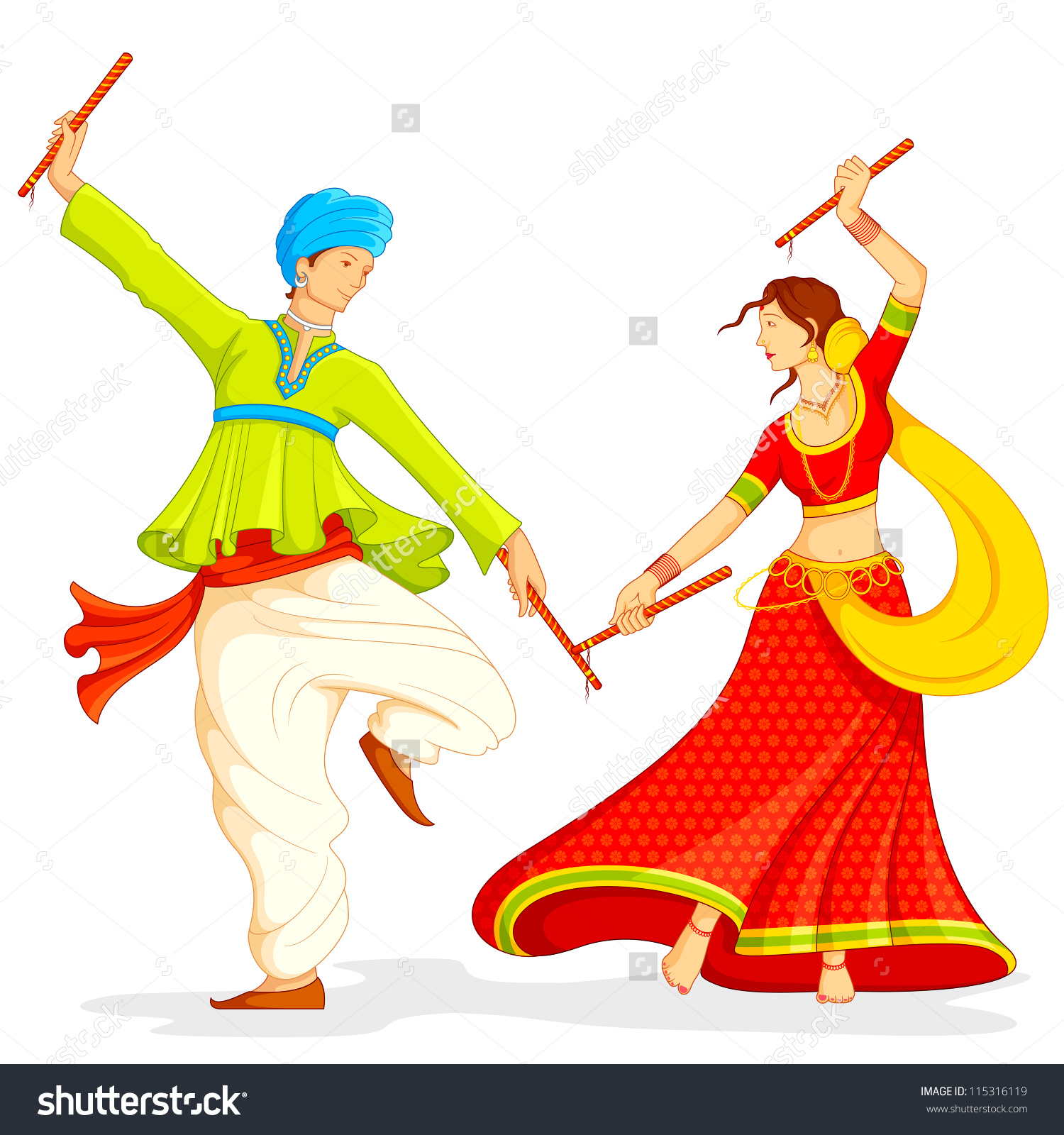 Illustration Couple Playing Dandiya On White Stock Vector.