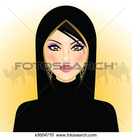 Clipart of rab woman in the desert k9504770.