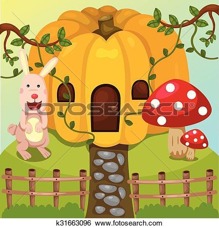 Clip Art of Illustrator of pumpkin home and rab k31663096.