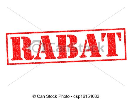 Drawings of RABAT Rubber Stamp over a white background.