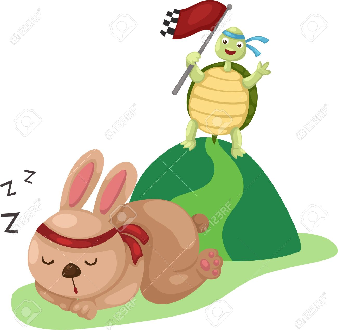 Illustration Of Turtle And Rabbit Running A Race Royalty Free.