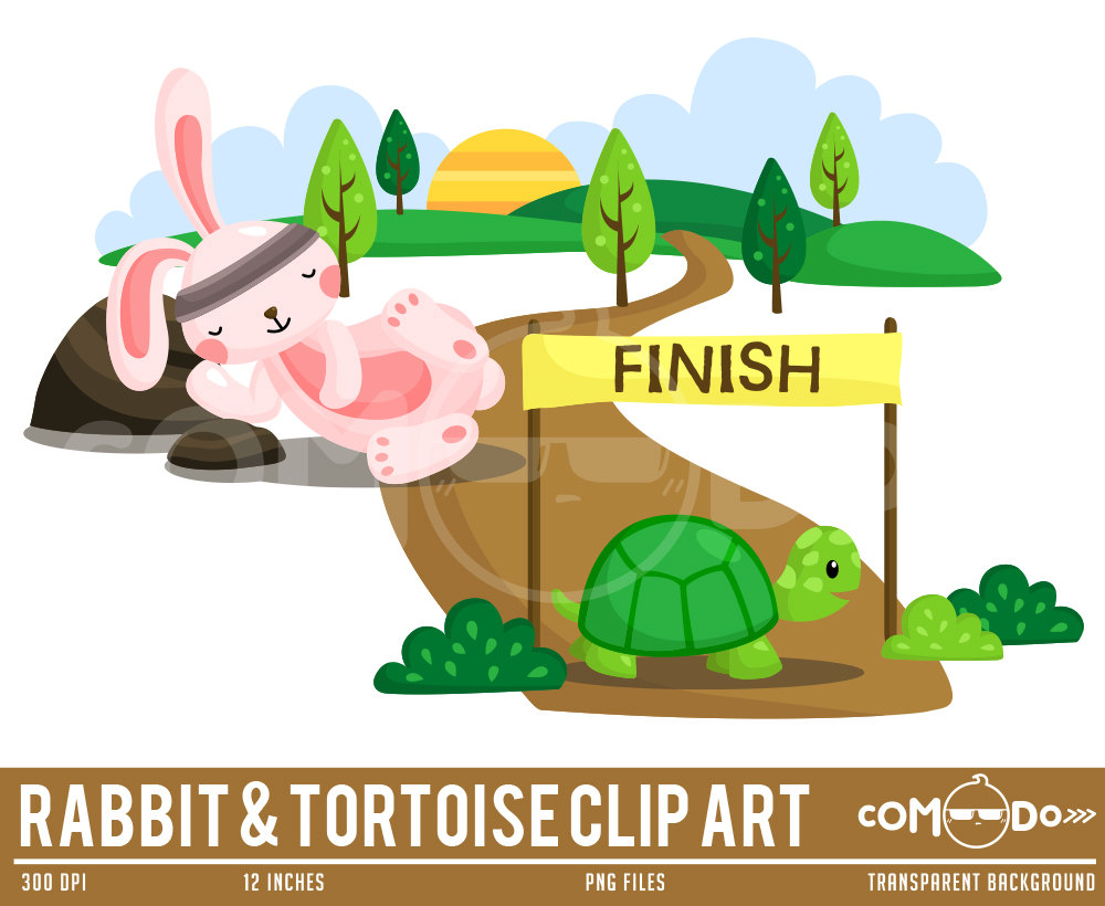 50%OFF Rabbit and Tortoise Clipart Cute Clipart Fun.
