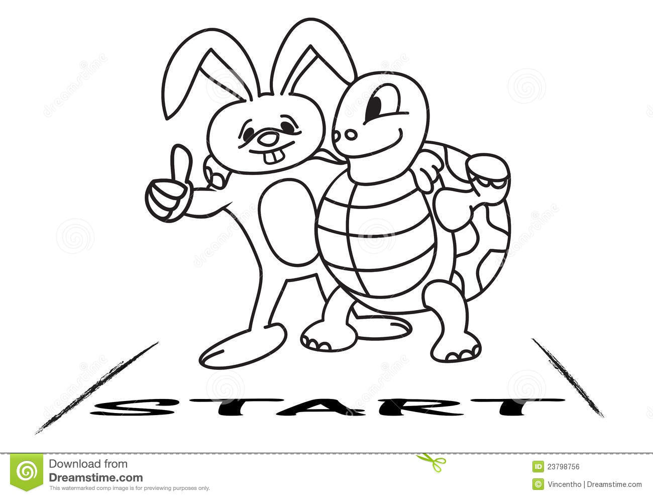 Tortoise And Hare At The Starting Line Royalty Free Stock Image.