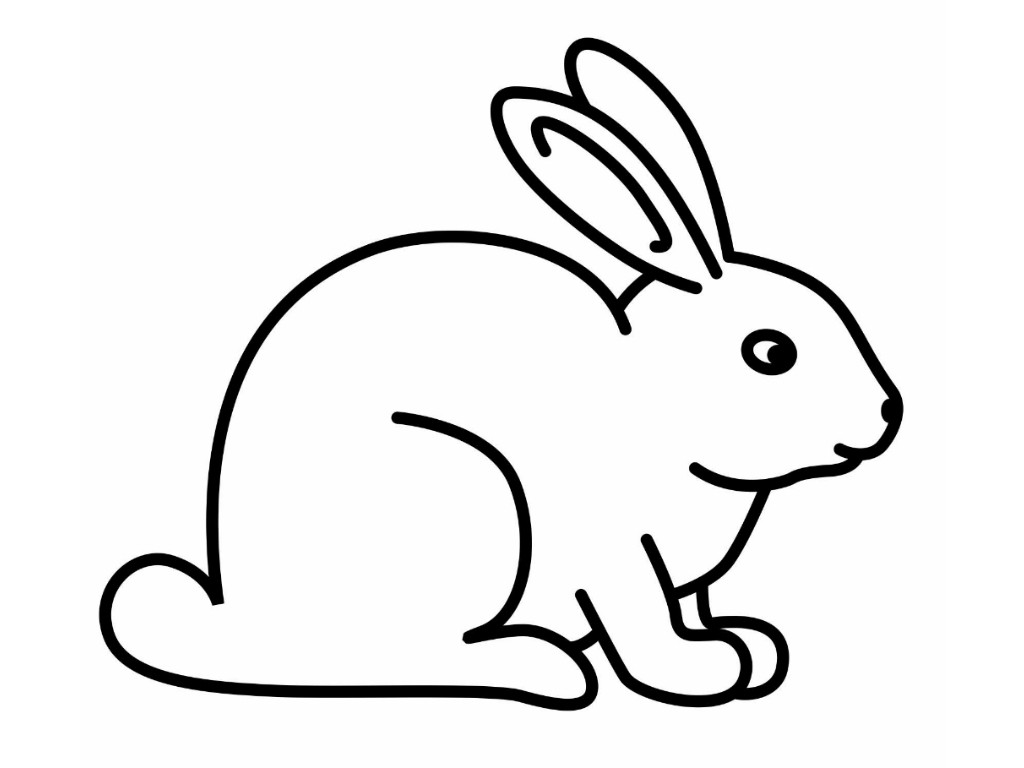Bunny black and white rabbit coloring pages for kids clipart.