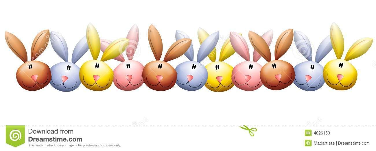 Easter Bunny Rabbit Heads Border Stock Illustration.