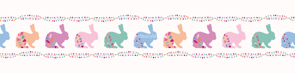 Vector Decorated Easter Bunnies Seamless Border Rabbit.