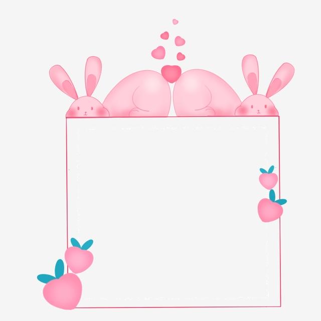 Pink Rabbit Cute Border, Cute, Pink, Bunny PNG Transparent.