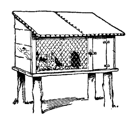 Rabbit cage clipart black and white.