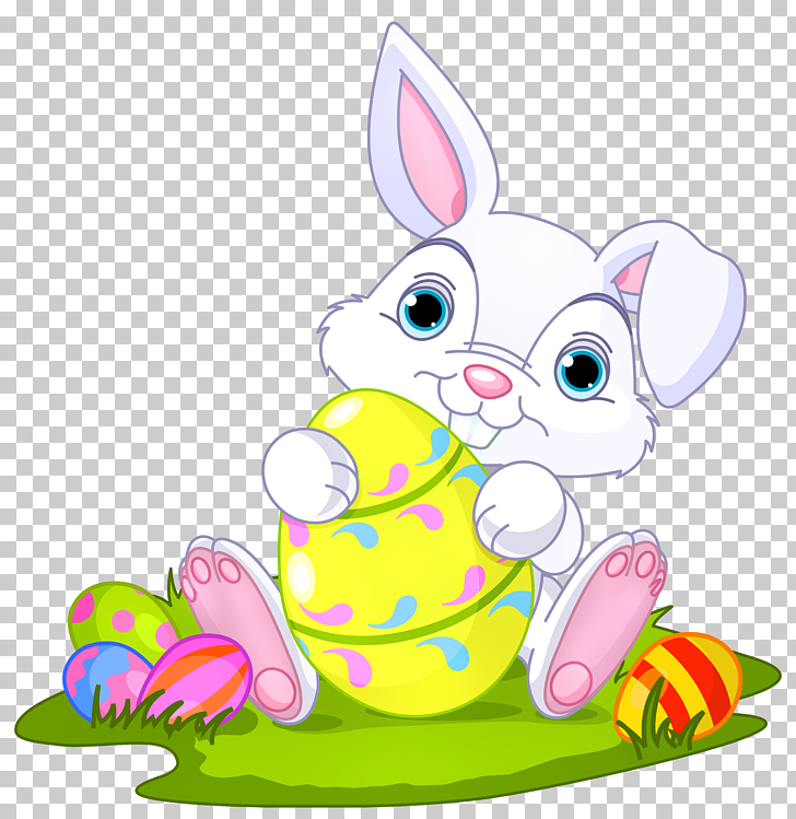 Easter Bunny Domestic rabbit , Easter Bunny with Eggs Decor.