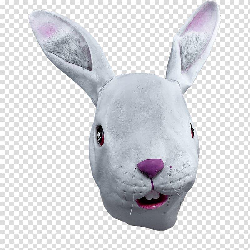 Gray rabbit head illustration, Rabbit Full Mask transparent.
