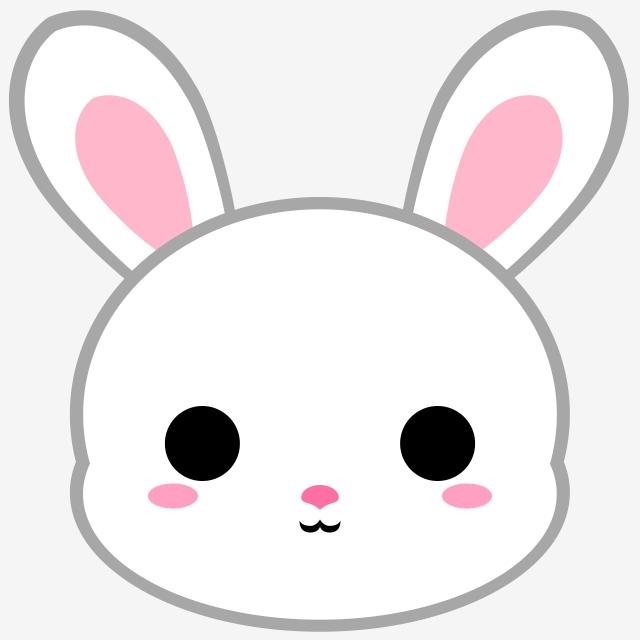 Cartoon White Bunny Head, Bunny, Rabbit, Animal PNG.