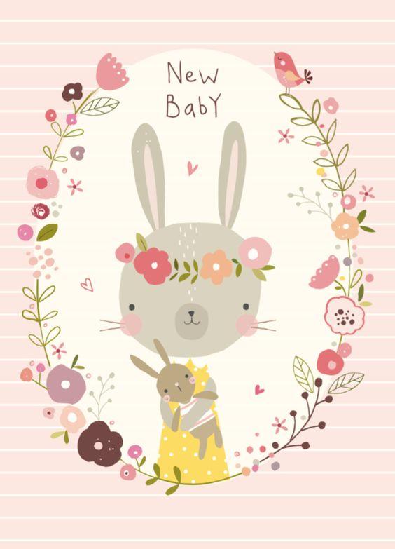 Nikki Upsher 'Ansichtkaart New baby Roze'.