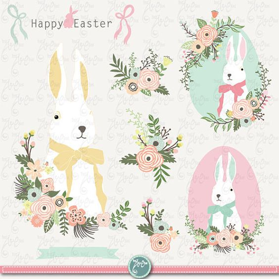 "Easter clip art ""EASTER CLIPART""Set, Easter Bunny, Vintage Flowers."