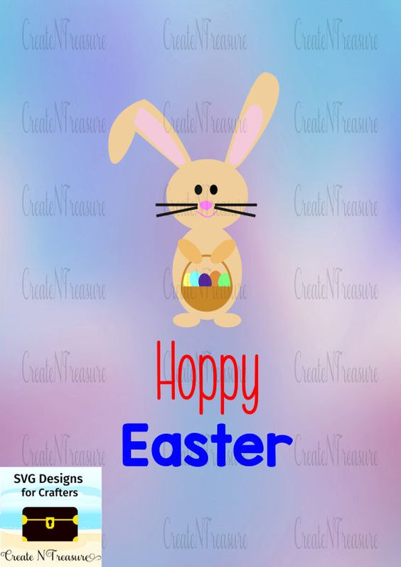 Easter SVG. Hoppy Easter. Cutting file for Cricut design space and.