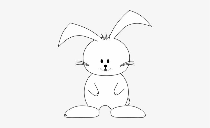 Tag For Easter Bunny Rabbit Outline.