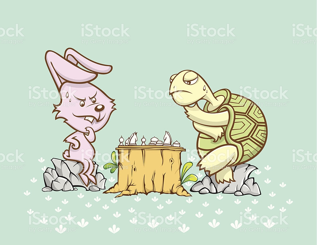 Rabbit And Turtle Are Playing A Chess Game stock vector art.