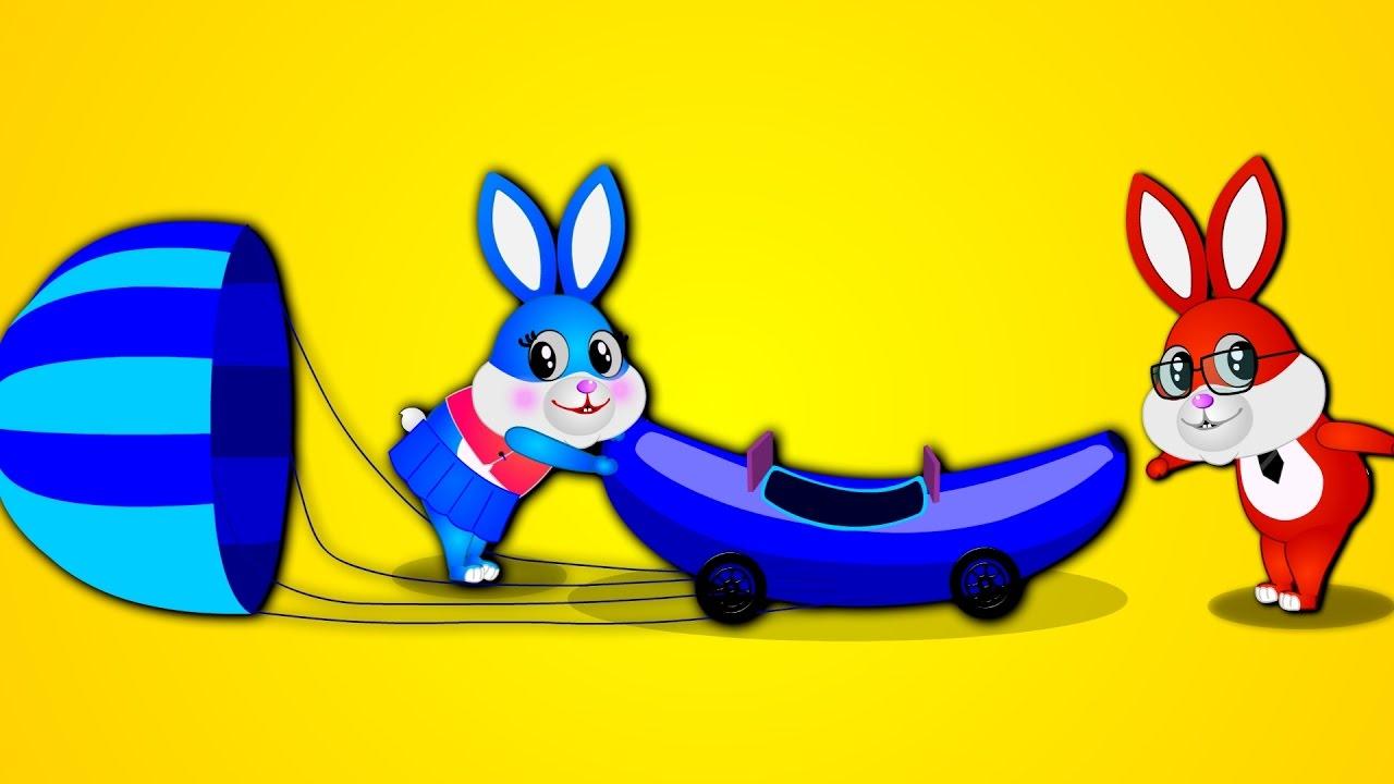 Mega Gummy Rabbit Playing Magic Color Banana Bus Game Finger.