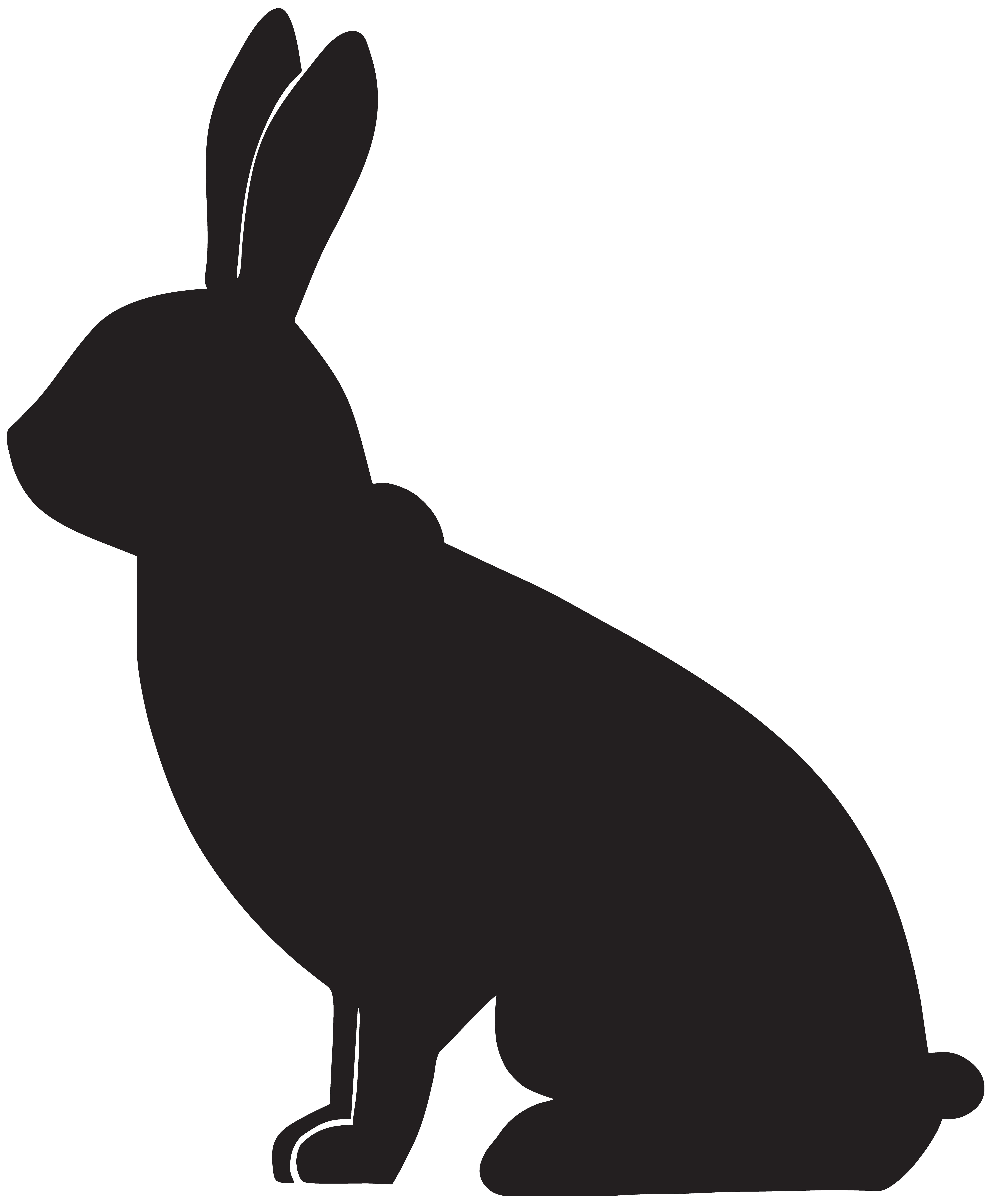 Rabbit Silhouette PNG Clip Art Image.