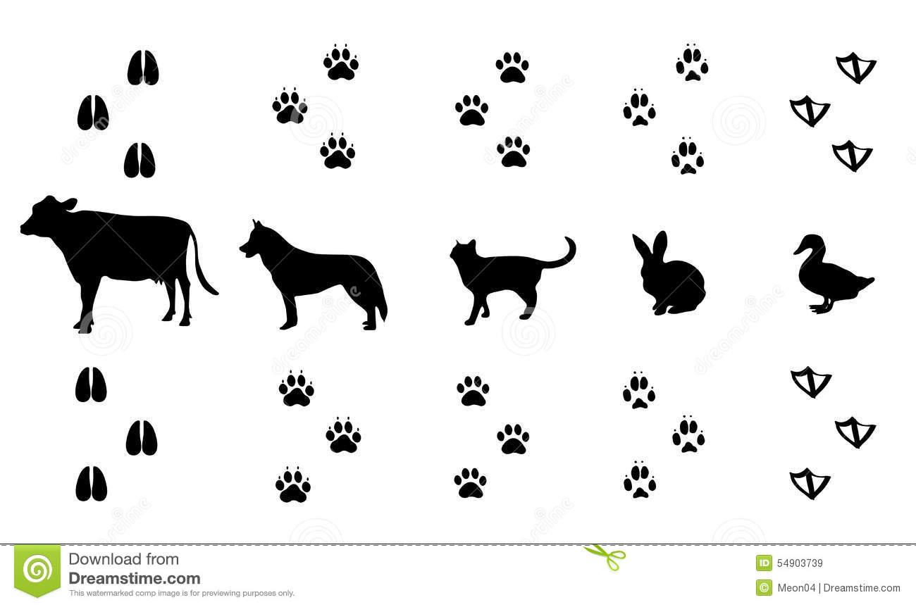 Set Of Walking Farm Animal Tracks Stock Vector.