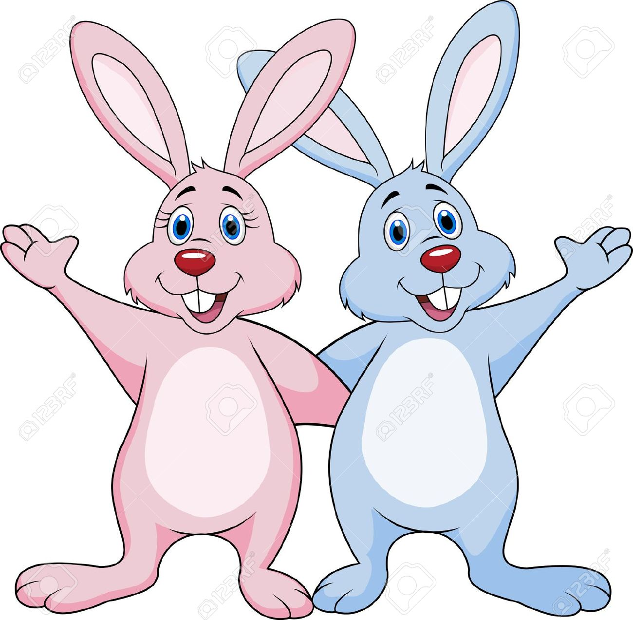 Cartoon rabbits clipart.