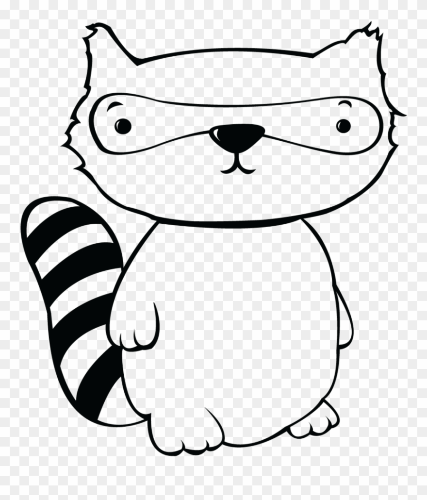 Racoon Clipart Black And White.