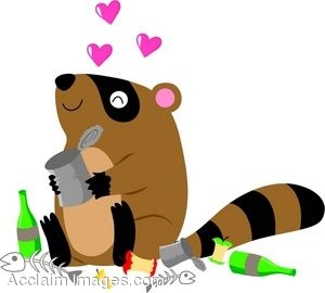 Clip Art Of A Raccoon Sitting In A Pile Of Trash.