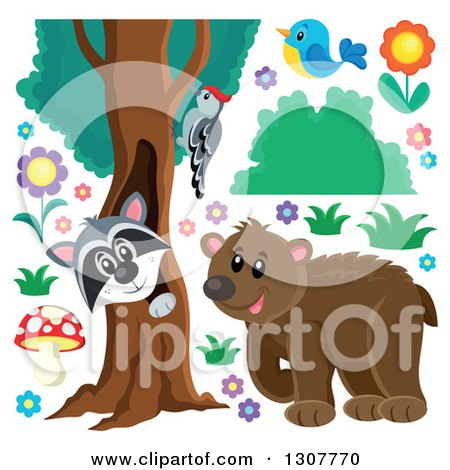 Clipart of a Bear, Raccoon Peeking out Through a Tree Hollow.