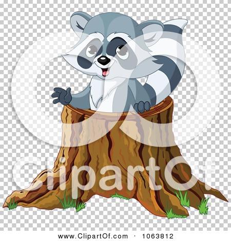 Clipart Raccoon In A Tree Stump.