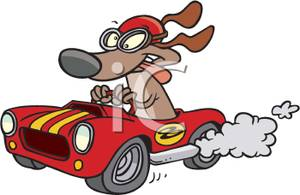 Image: A Dog Driving a Race Car.