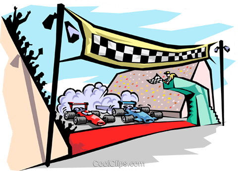 finish line at raceway Royalty Free Vector Clip Art illustration.