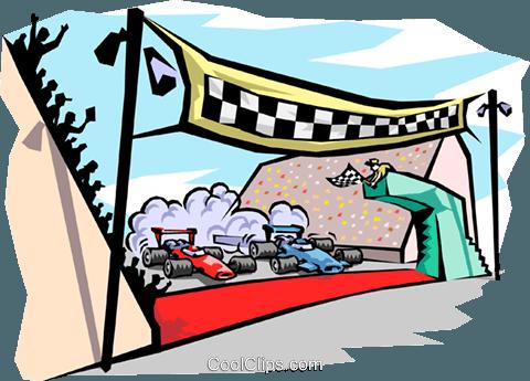 finish line at raceway Royalty Free Vector Clip Art illustration.