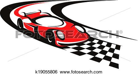 Clip Art of Speeding racing car crossing the finish line k19055806.