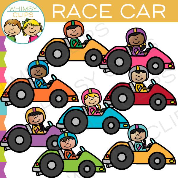 Race Car Kids Clip Art.