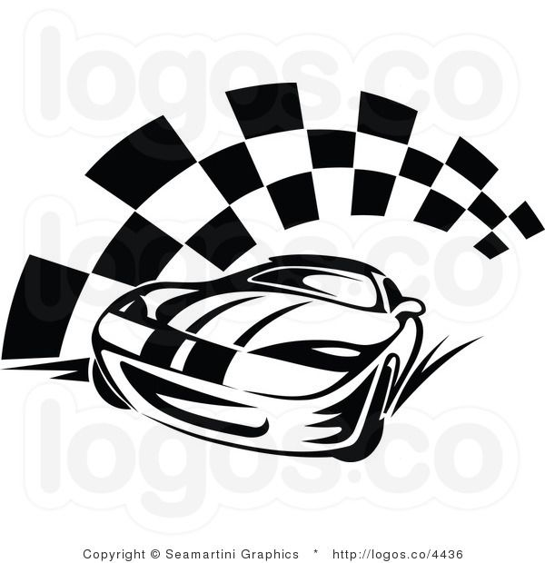 Royalty Free Race Car and Checkered Flag Logo.