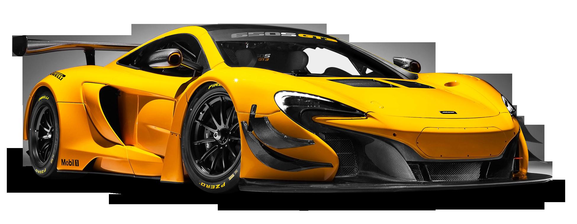 McLaren 650S GT3 Yellow Race Car PNG Image.