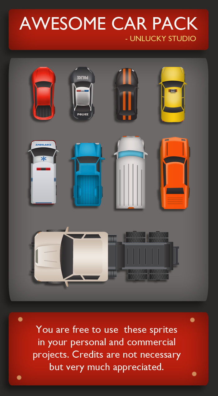 Free Top Down Car Sprites by Unlucky Studio.