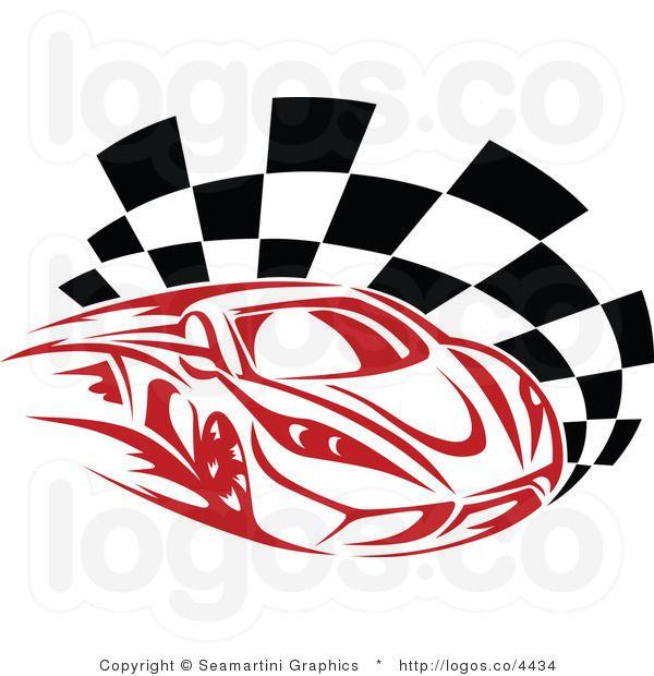 Royalty Free Red Race Car Logo.