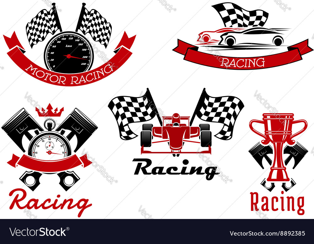Auto racing sporting symbols with race cars.